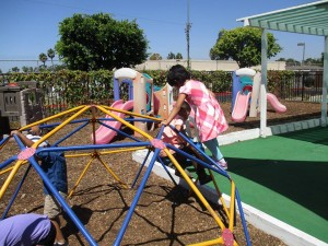 kids on play structures